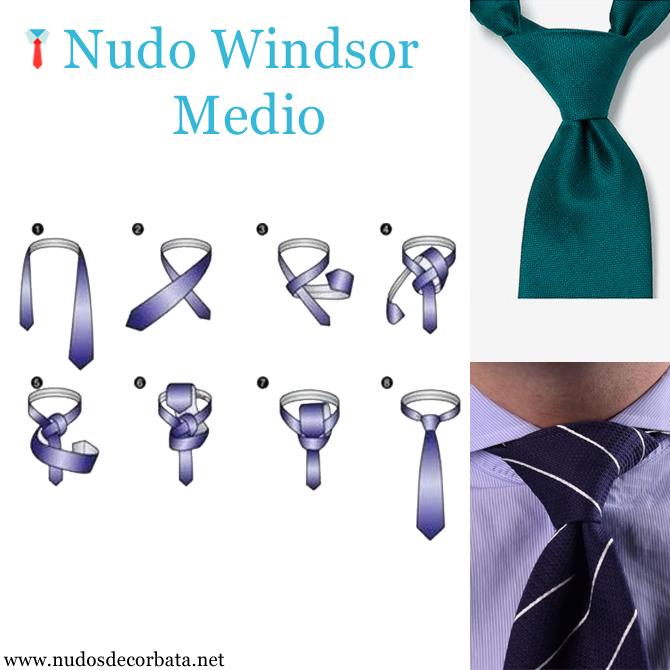 como se hace el nudo de corbata Windsor Medio