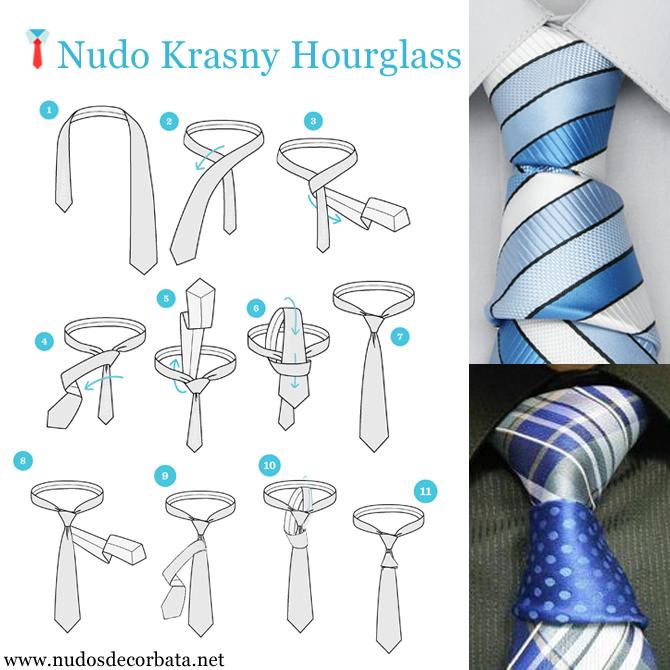 como hacer el nudo de corbata Krasny Hourglass o reloj de arena