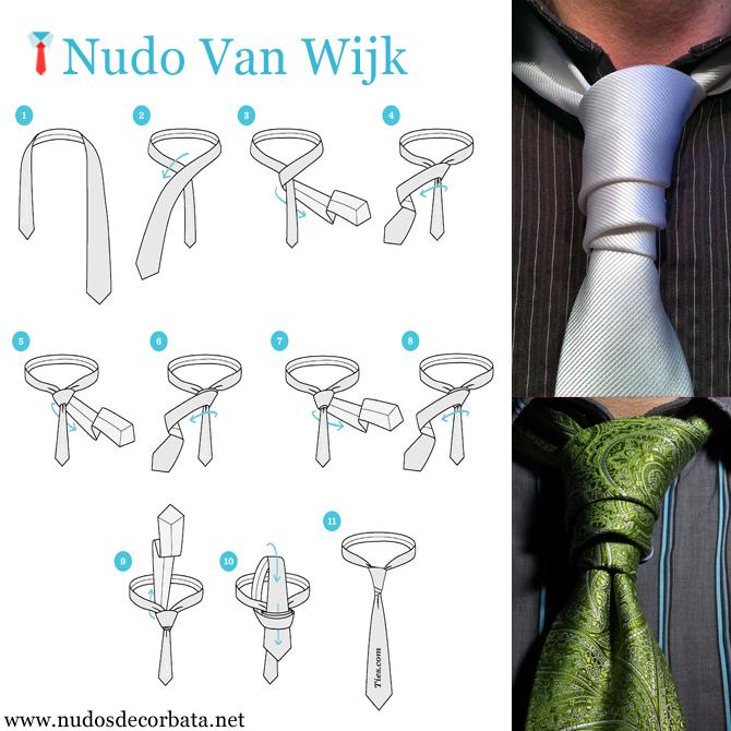 como hacer el nudo de corbata Van Wijk